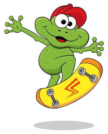 Illustration vectorielle d'une grenouille de bande dessinée est de sauter avec une planche à roulettes Banque d'images - 43269985
