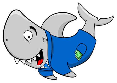 fraudster: illustrazione vettoriale di uno squalo finanziario fumetto che sorride