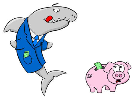 conman: vector illustration of a smiling financial shark and a frightened piggy bank Illustration