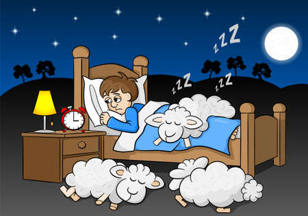 vector illustration of sheep fall asleep on the bed of a sleepless man