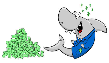 conman: vector illustration of a smiling financial shark