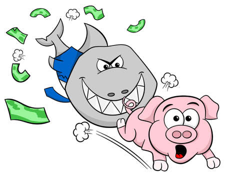 conman: vector illustration of a smiling financial shark is hunting a frightened piggy bank