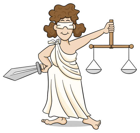roman mythology: vector illustration of lady justice, the roman goddess of justice with blindfold, sword and scales