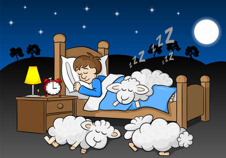 snore: vector illustration of sheep fall asleep on the bed of a sleeping man