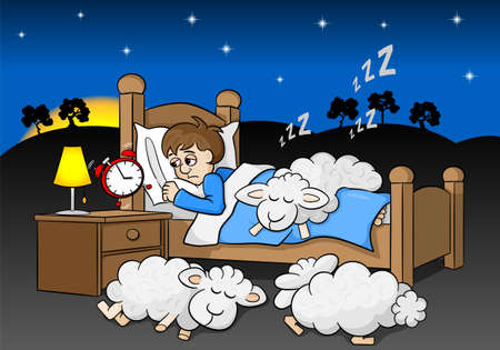 sunup: vector illustration of a sleepless man wakes up in the morning by the alarm clock