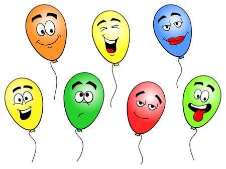 ilustración de globos coloridos de la historieta