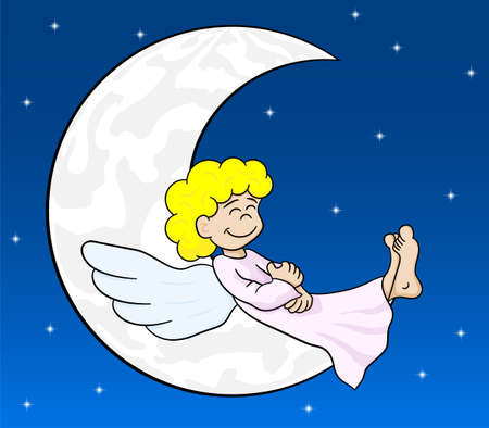 illustration of a cartoon angel sleeping on the moon Çizim