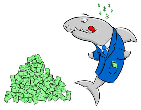 conman: illustration of a smiling financial shark
