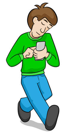 illustration of a man walks absently with his smartphone