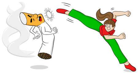 nicotine: illustration of a cartoon fight against nicotine addiction Illustration