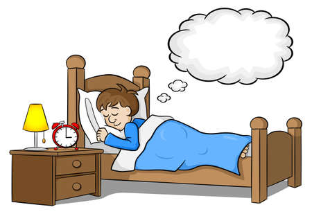 illustration of sleeping man is dreaming