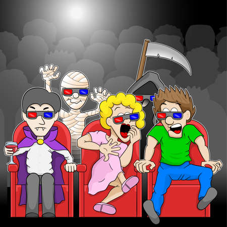 shudder: vector illustration of a couple is watching a 3D horror movie in a cinema Illustration