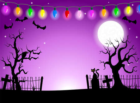 halloween scary: vector illustration of scary halloween background with cemetery in the dark night with full moon Illustration