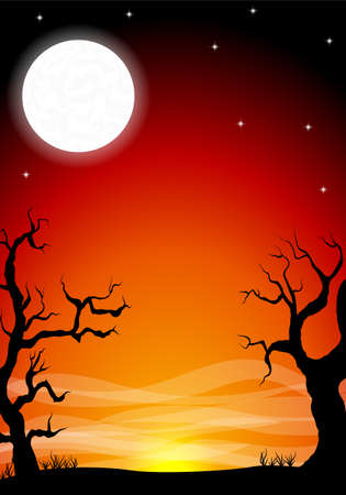 dark skies: vector illustration of an eerie halloween night background with a full moon Illustration