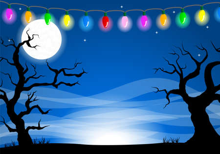 night moon: vector illustration of a halloween background with a full moon night