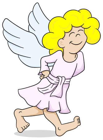 satisfied: vector illustration of a cartoon angel is walking satisfied Illustration