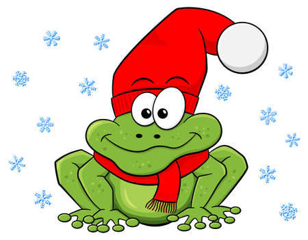 christmas frog: vector illustration of a cartoon frog with hat and scarf in winter