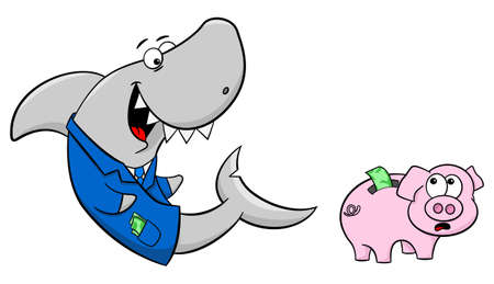 fraudster: vector illustration of a smiling financial shark and a frightened piggy bank Illustration
