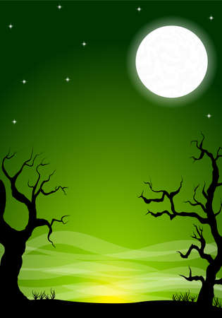 eerie: vector illustration of an eerie halloween night background with a full moon Illustration