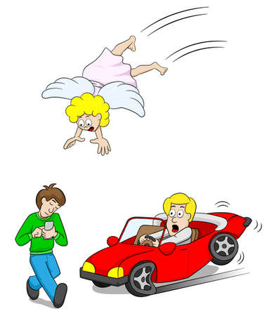 vector illustration of a guardian angel at work with an absentminded smartphone user causes car accident