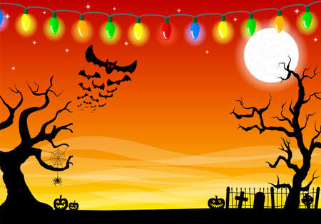 halloween scary: vector illustration of scary halloween background with cemetery in the dark night