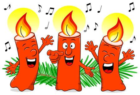 velas de navidad: ilustración vectorial de dibujos animados velas de Navidad cantando un villancico Vectores