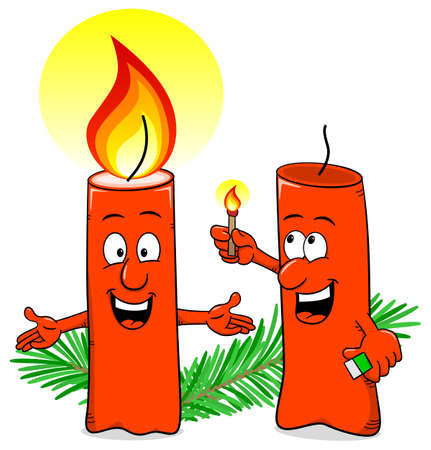 lit candles: vector illustration of a cartoon of a Christmas candle that ignites another candle
