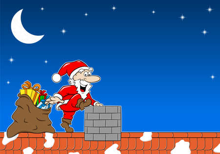 roofs: vector illustration of santa claus at work on a roof Illustration