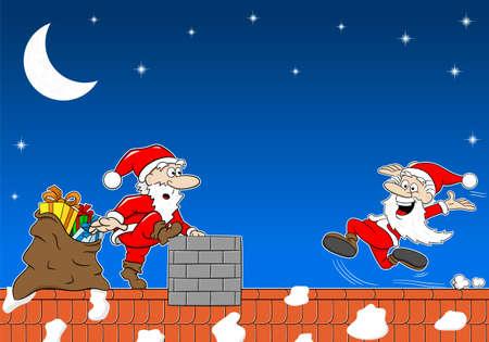 weihnachtsmann lustig: Vektor-Illustration der Weihnachtsmann bei der Arbeit auf dem Dach, der einen anderen Weihnachtsmann trifft