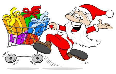 vector illustration of a cartoon santa claus at christmas shopping Vector Illustration