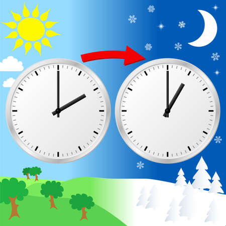 back in an hour: vector illustration of a clock return to standard time