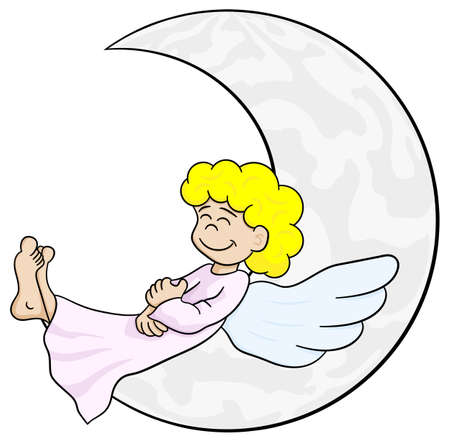 vector illustration of a cartoon angel sleeping on the moon Illustration