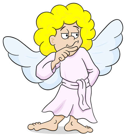 angel white: vector illustration of a pensive looking cartoon angel Illustration