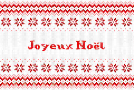 german tradition: vector illustration of a seamless red and white knitted background Joyeux Noel (french) = Merry Christmas