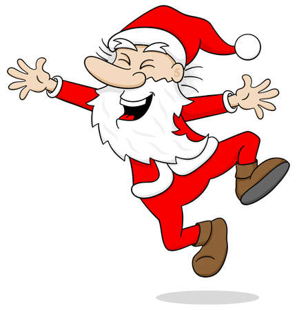 christmas cartoon: vector illustration of a santa claus who leaping for joy