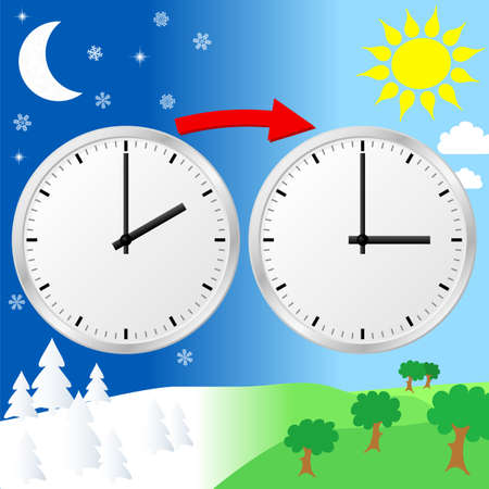 time zone: vector illustration of a clock switch to summer time