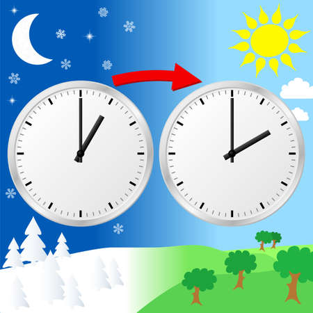 hour hand: vector illustration of a clock switch to summer time
