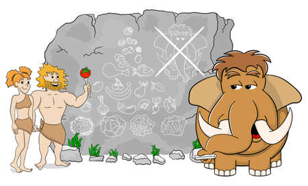 vector illustration of a mammoth explains paleo diet using a food pyramid drawn on stone