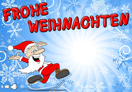 weihnachten: vector illustration of a blue christmas background with santa claus Frohe Weihnachten (german) = Merry Christmas