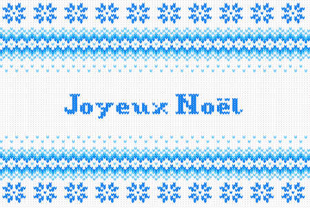 frohe: vector illustration of a seamless blue and white knitted background Joyeux Noel (french) = Merry Christmas