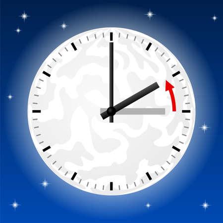 Tiempo: ilustración vectorial de una vuelta de reloj a la hora estándar Vectores