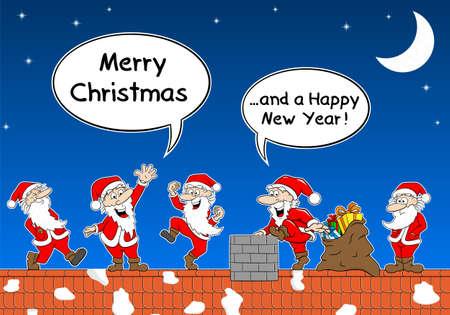 weihnachtsmann lustig: Vektor-Illustration der Gruppe der Weihnachtsm�nner bei der Arbeit auf dem Dach