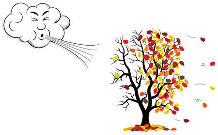 vector illustration of a cartoon cloud that blows wind to a tree who loses fall foliage Stock Illustratie