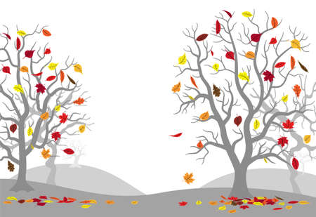vector illustration of autumn forest with falling leaves
