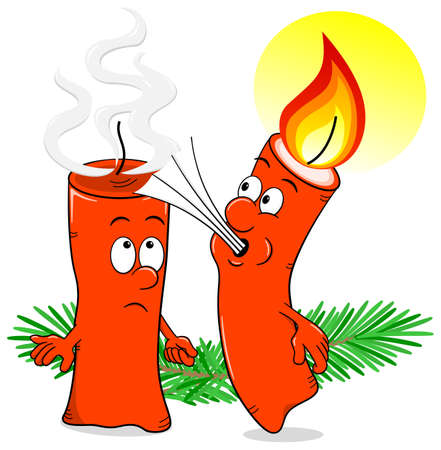 x mas parties: vector illustration of a cartoon of a Christmas candle that blows out another candle