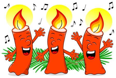 lit candles: vector illustration of cartoon Christmas candles singing a Christmas carol Illustration
