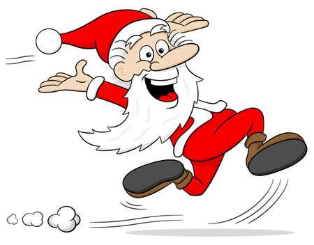 whoosh: vector illustration of a cartoon santa claus who is running Illustration