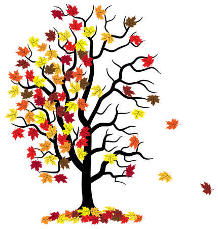 vector illustration of a tree who loses fall foliage
