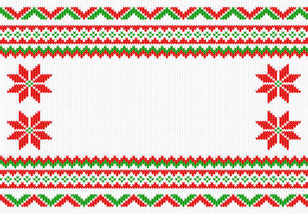 rosso verde: vector illustration of a red, green and white knitted background Vettoriali