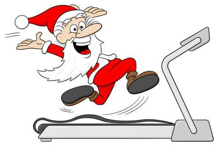 vector illustratie van de Kerstman is joggen op een loopband